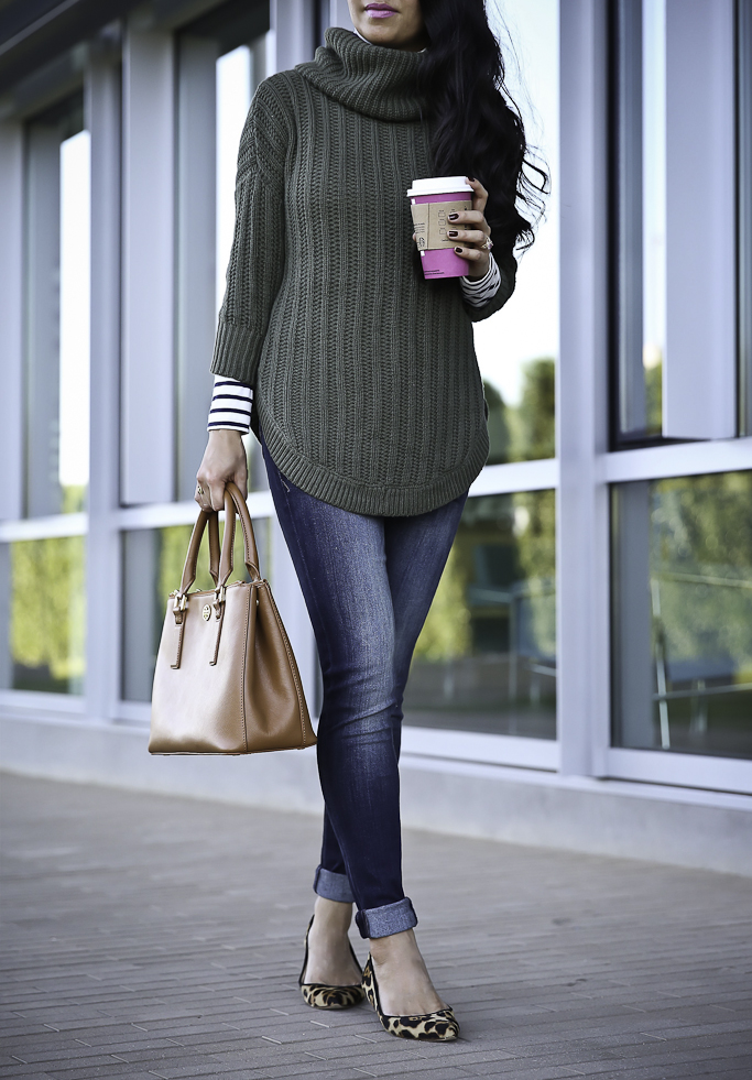 casual fall outfit olive green sweater leopard pumps striped turtleneck