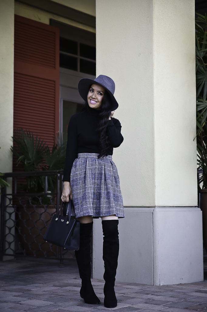 plaid skirt black over the knee boots winter outfit gray wool hat