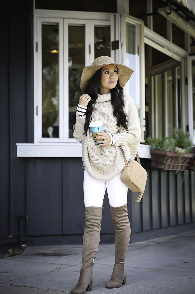 b7f028c1966 petite cable knit poncho over the knee boots neutral fall outfit