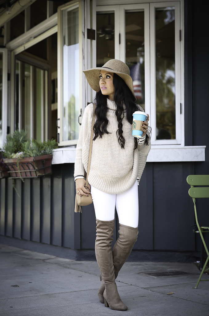 petite cable knit poncho over the knee boots neutral fall outfit