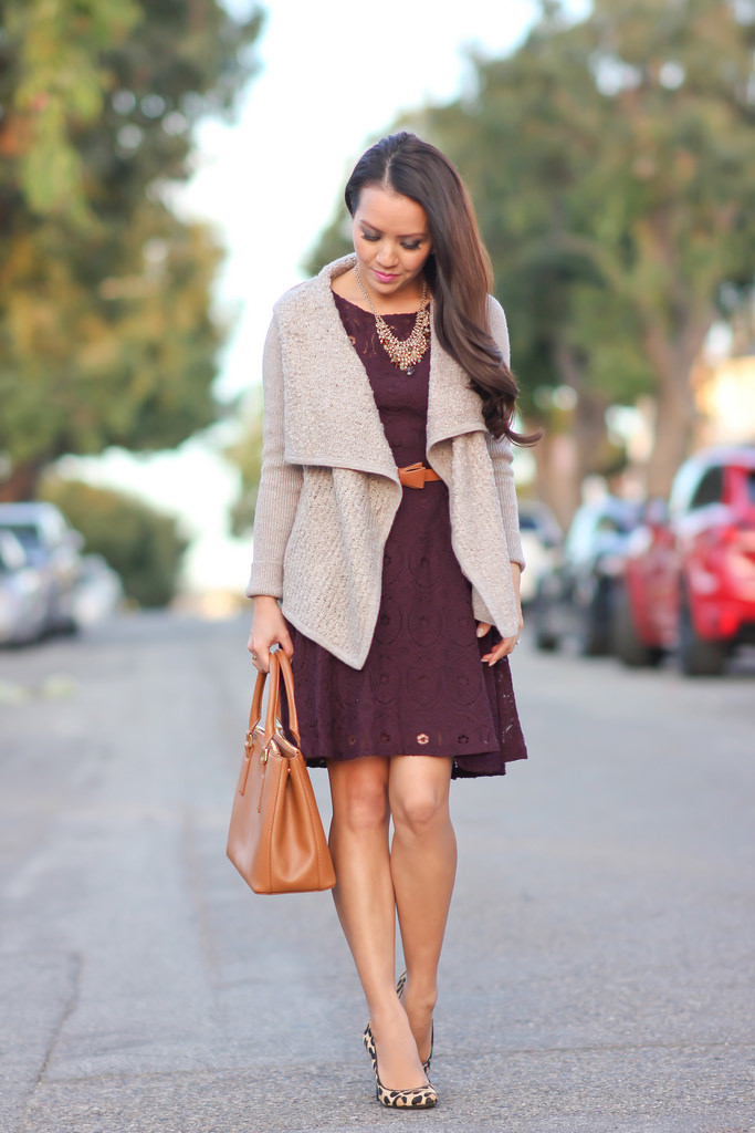 burgundy lace dress drapey cardigan leopard pumps fall outfit idea