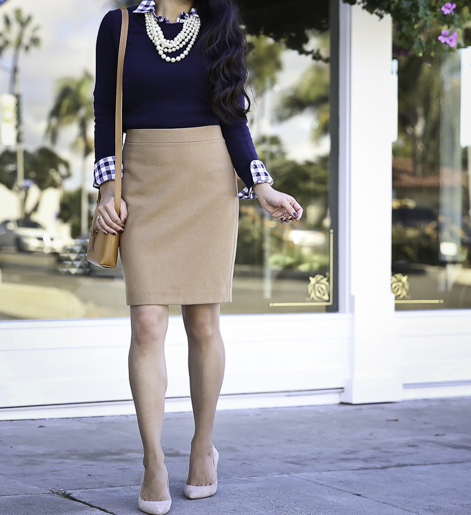 camel wool pencil skirt gingham shirt navy sweater fall work outfit idea
