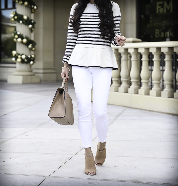 stripe peplum sweater white jeans casual fall outfit business casual
