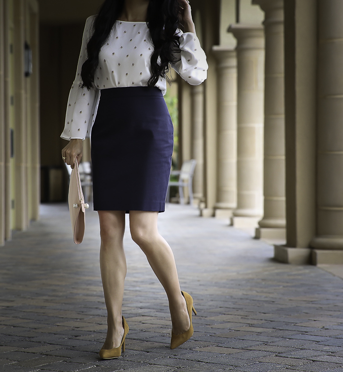 bell sleeve top navy pencil skirt fall work outfit blush clutch navy wool coat