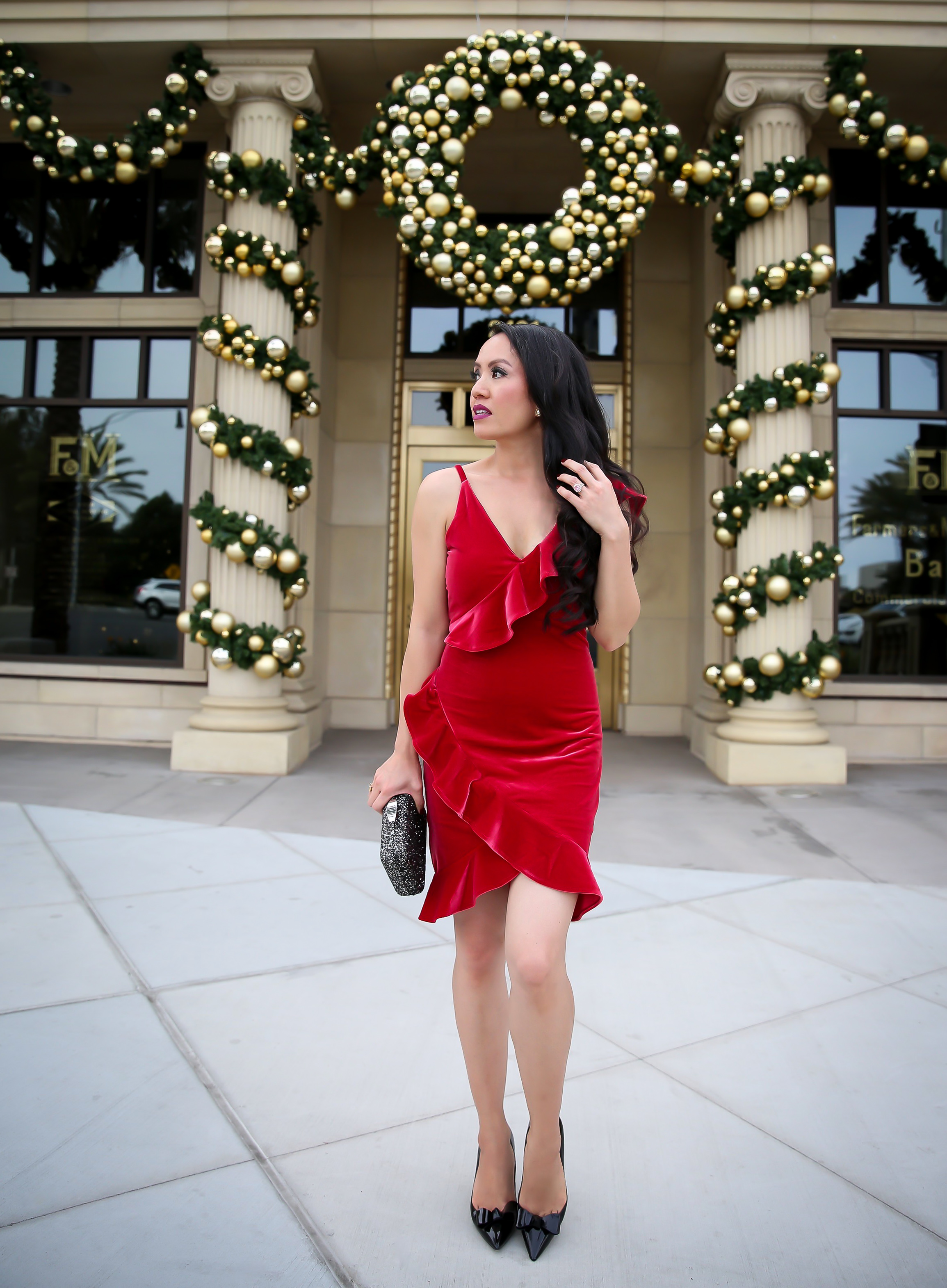 red velvet dress christmas holiday outfit idea sequin clutch