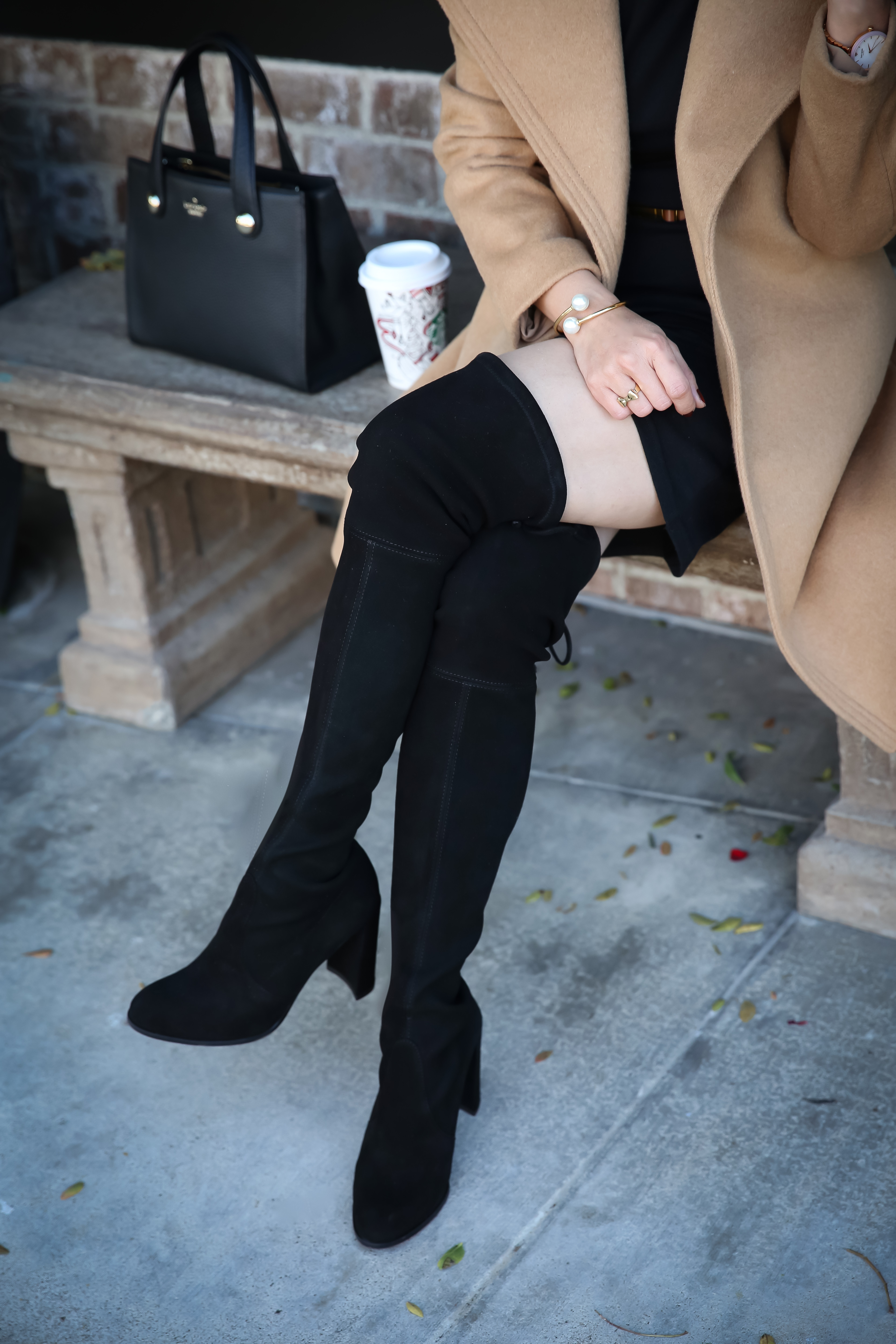 black over the knee boots camel coat winter outfit