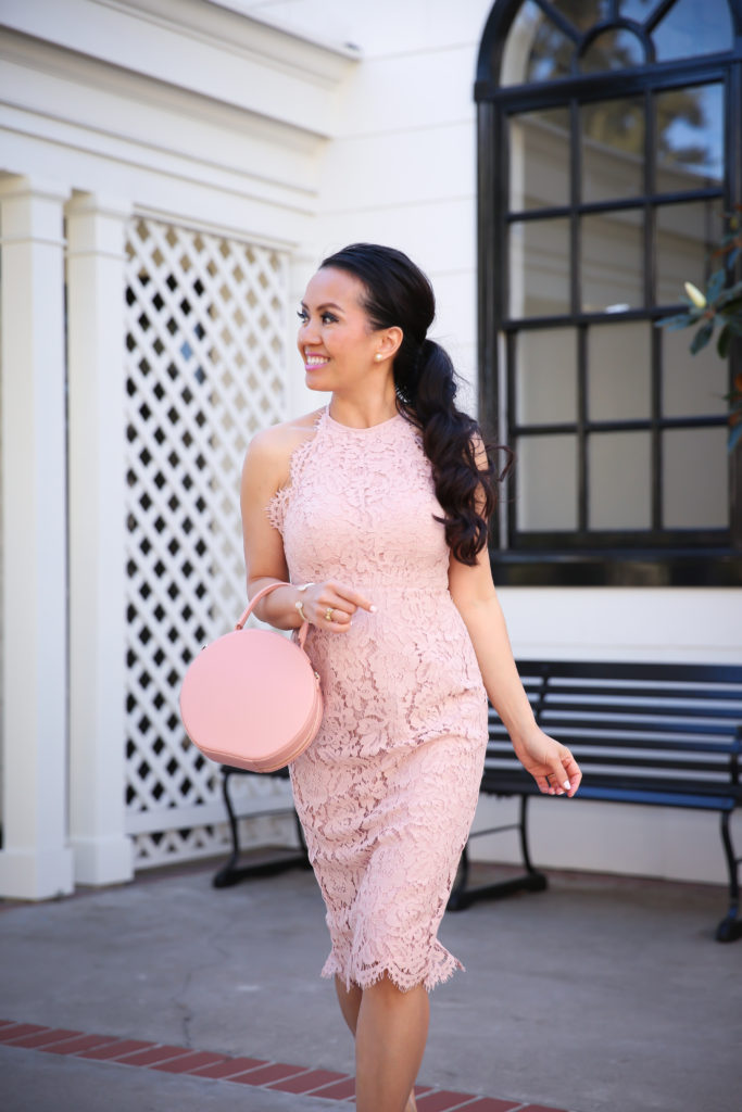 pink scalloped lace dress valentines day outfit nude pumps circle leather bag