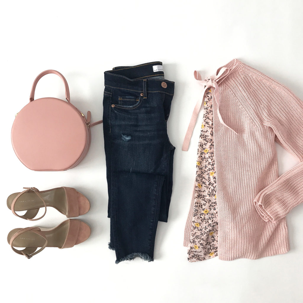 pink circle leather bag blush wedge sandals spring casual outfit step hem jeans