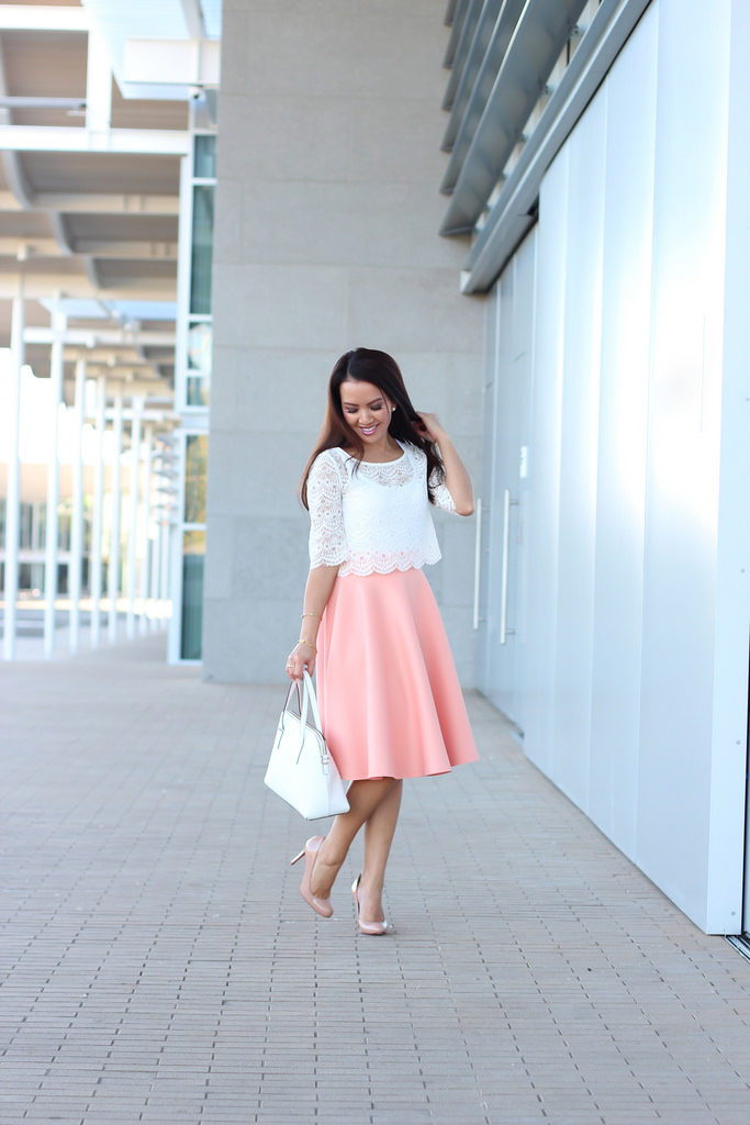 peach midi skirt lace crop top nude pumps spring outfit