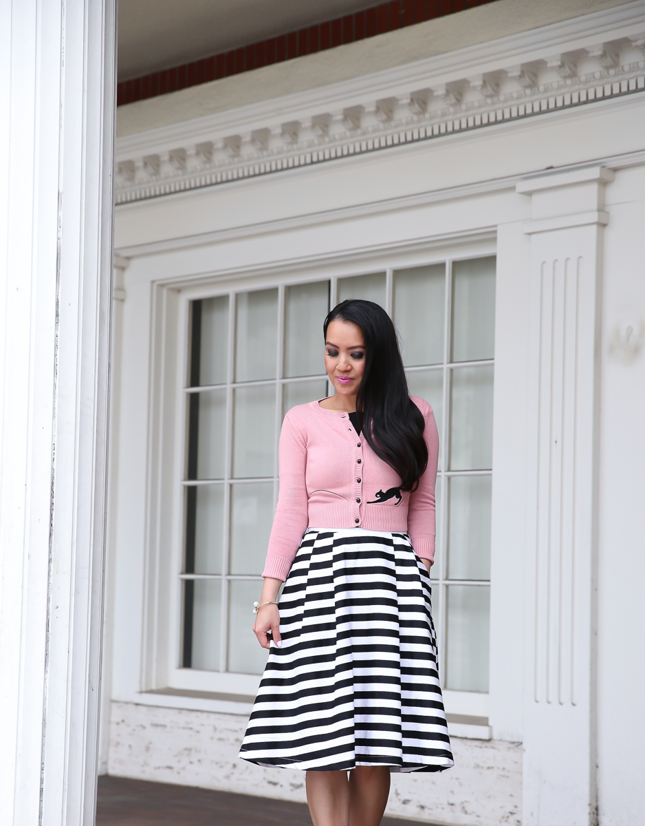 striped midi skirt black off the shoulder top pink cat cardigan modest work outfit