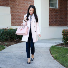 navy sloan pants pink trench coat camel blazer gingham shirt work outfit navy bow pumps