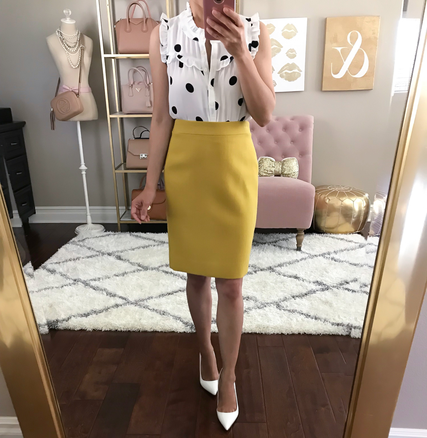 polka dot ruffle henley top mustard pencil skirt white pumps spring work outfit