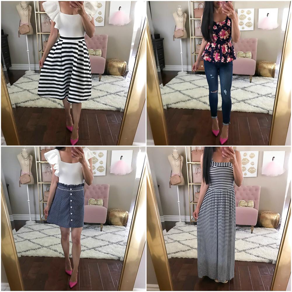 striped maxi dress petite jeans ruffle sleeve bodysuit