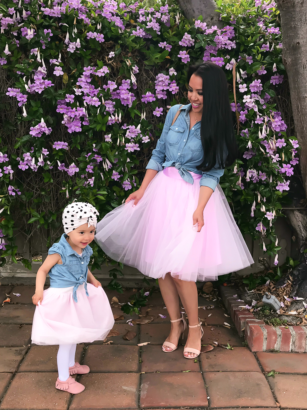 mommy and me matching tulle skirt chambray shirt polka dot turban