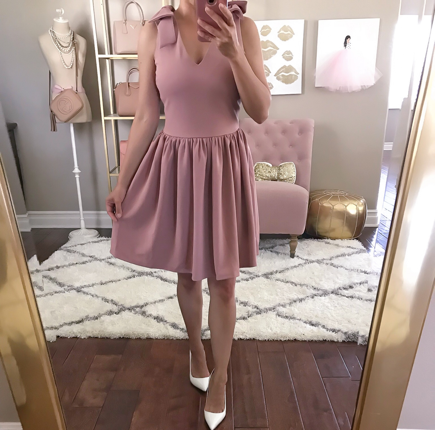 aqua bow detail fit and flare dress navy pink bow
