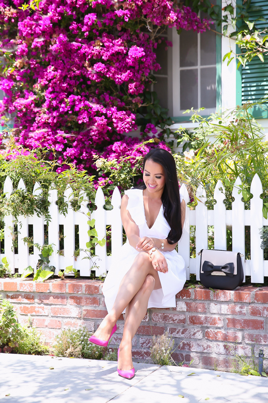 white ruffle neck dress pink pumps summer outfit convertible bag make it mine