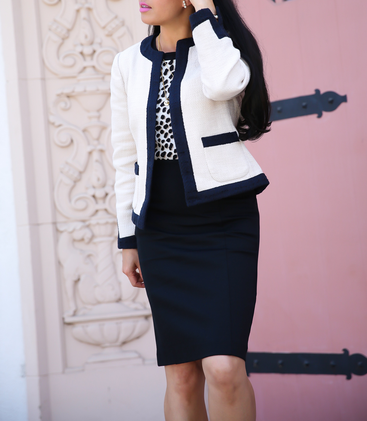 tweed jacket leopard sweater black pencil skirt work outfit