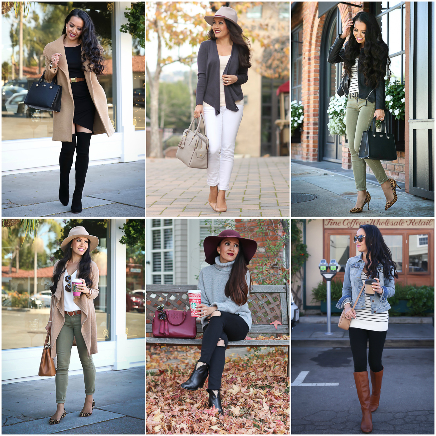 fall outfits camel coat olive jeans camel cardigan striped sweater otk boots