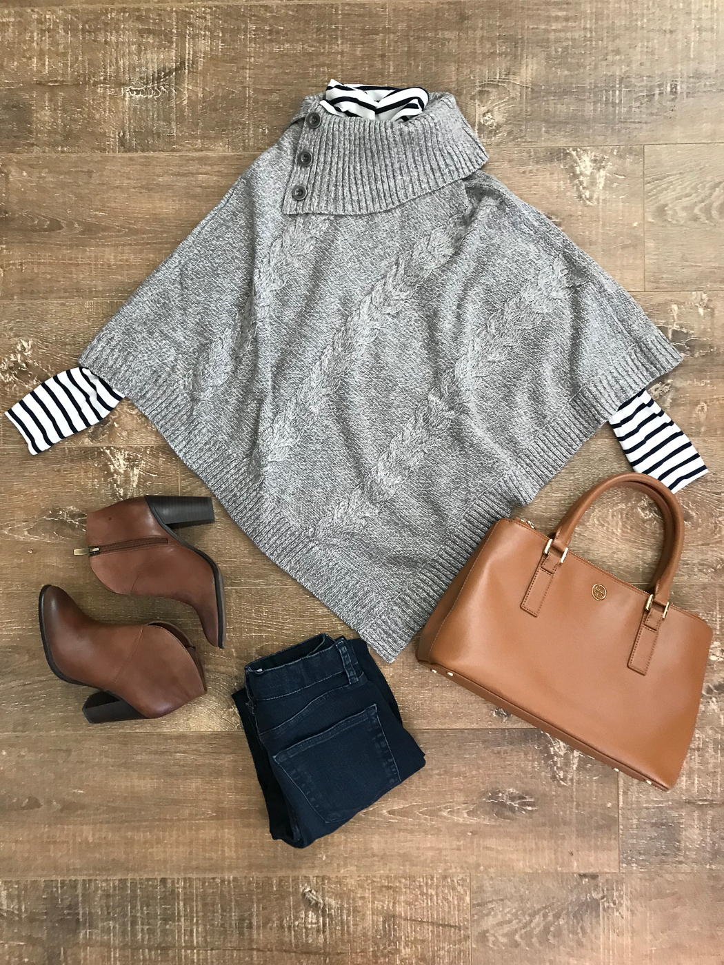fall outfit gray cable knit poncho cognac booties camel tote