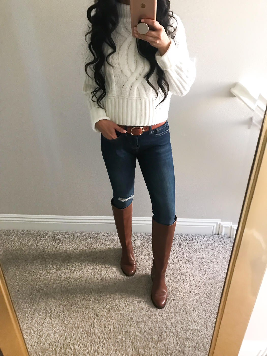 cropped cable knit sweater cognac riding boots skinny jeans fall outfit