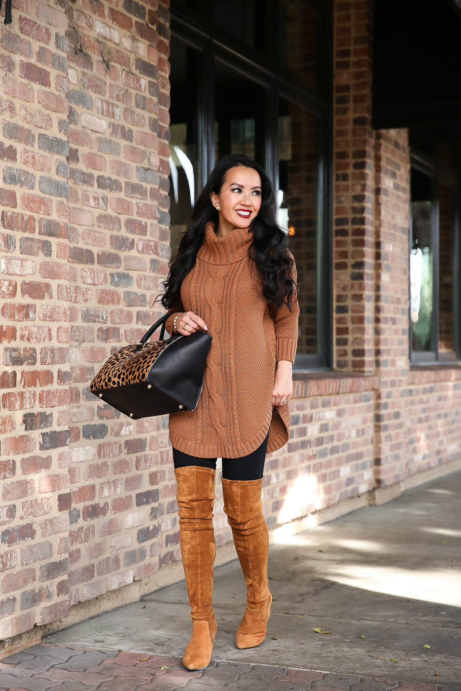cowl neck cable knit sweater marla OTK boots leopard satchel