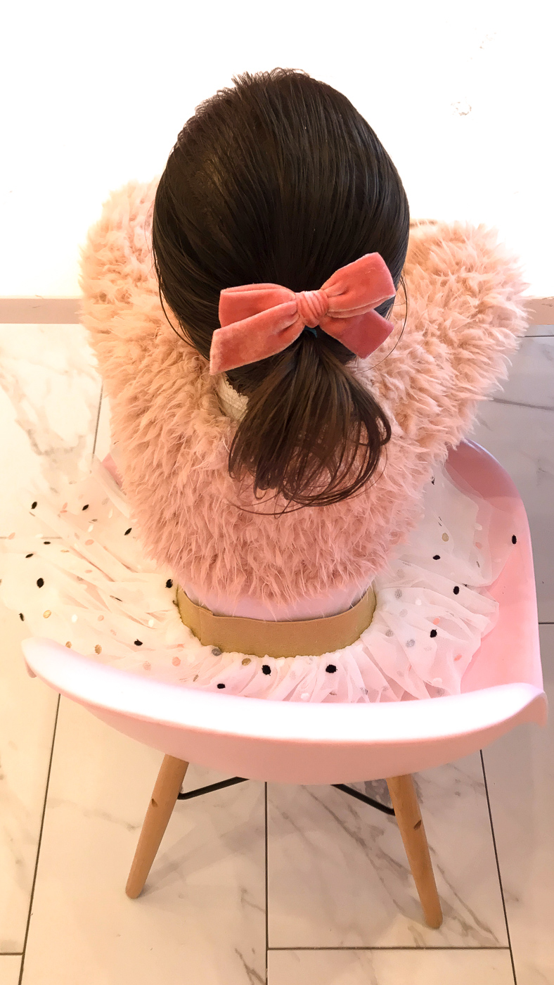 faux fur top polka dot tutu skirt toddler outfit ideas bow shoes pink bow hair clip