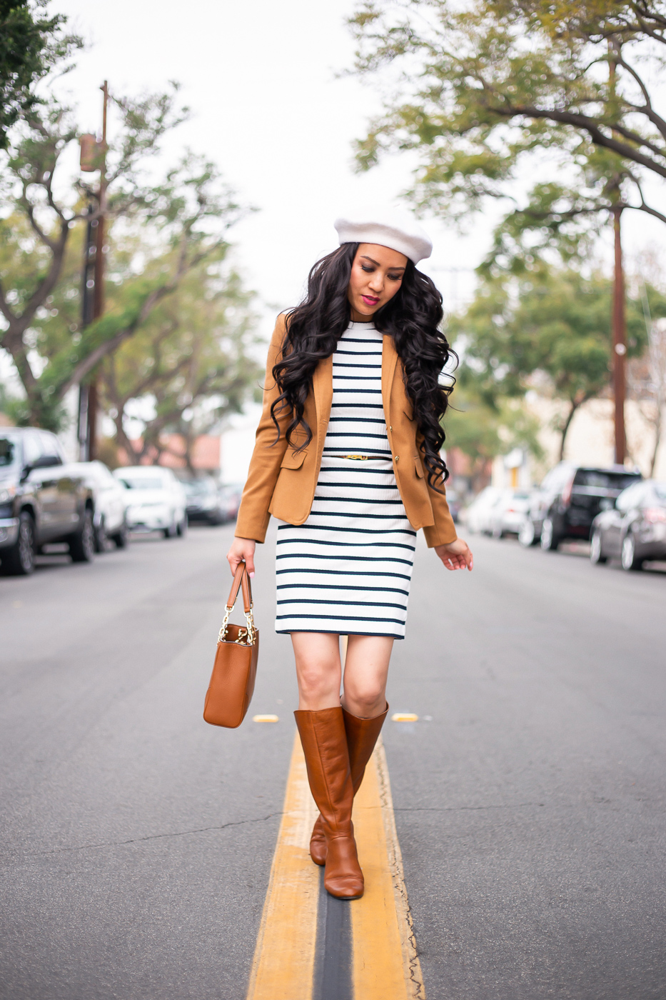striped dress camel blazer wool beret cognac boots winter outfit