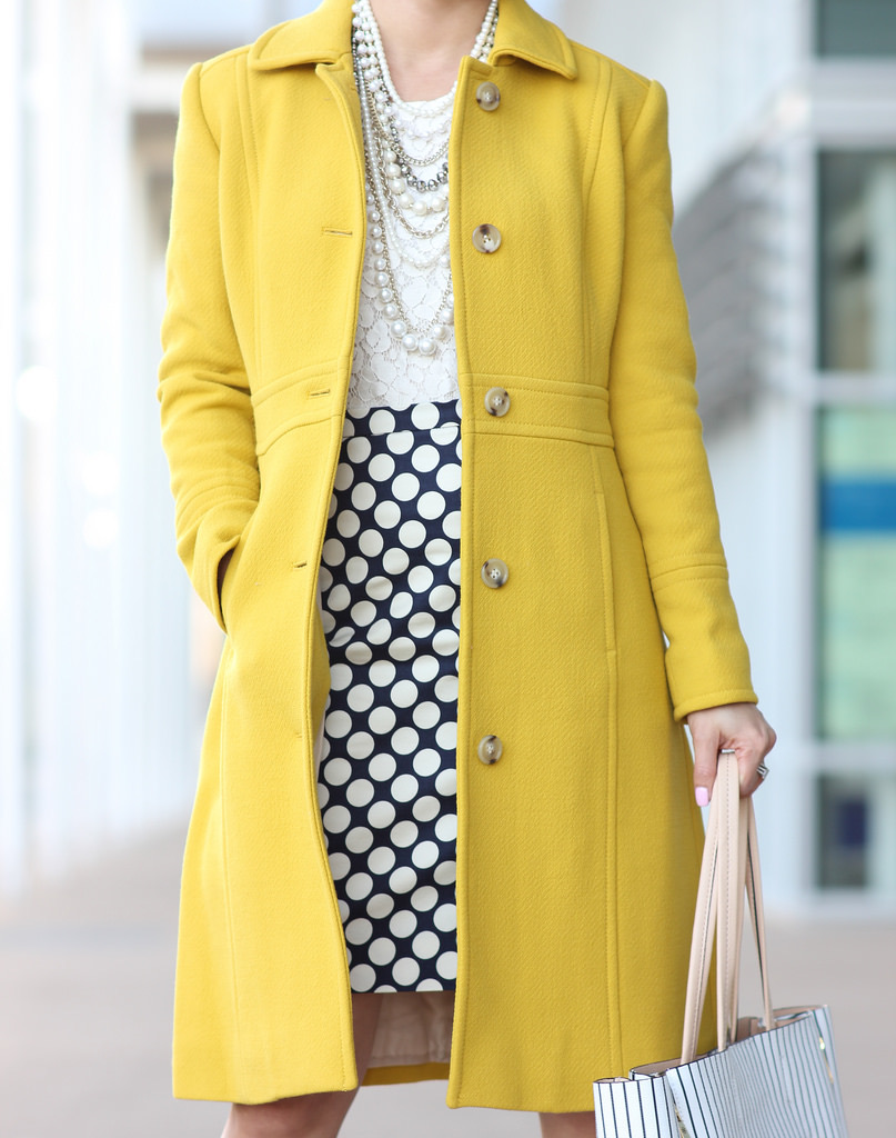 J.Crew lady day chartreuse coat polka dot pencil skirt lace top layered pearl necklace winter outfit