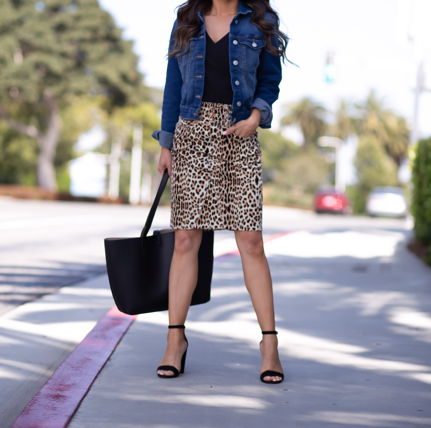 leopard denim skirt denim jacket black wrap top