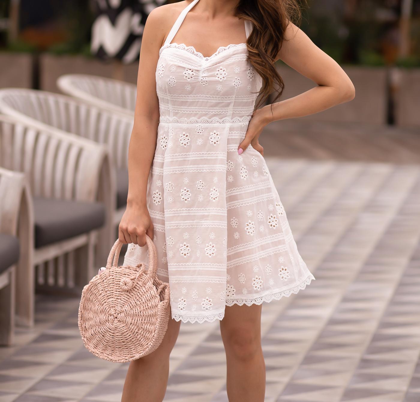 summer outfit white crochet halter dress blush espadrilles pink straw bag