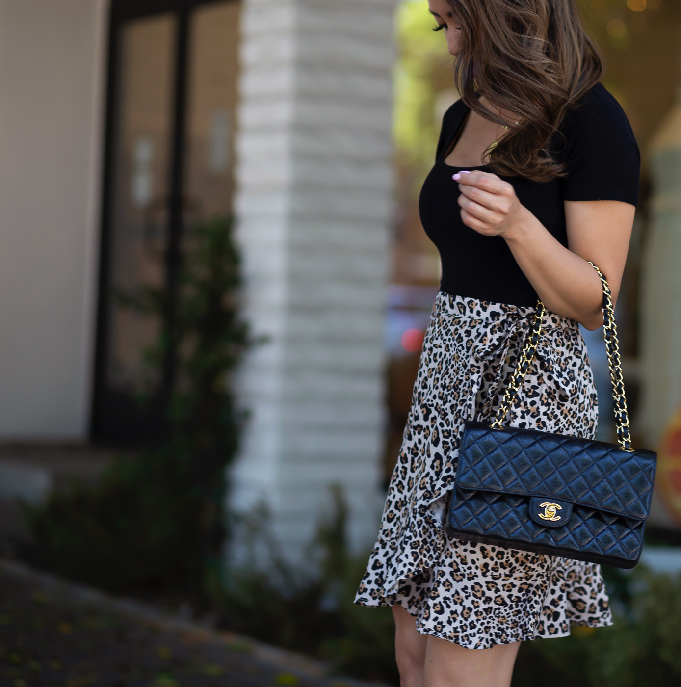 leopard wrap skirt black bodysuit chanel medium flap
