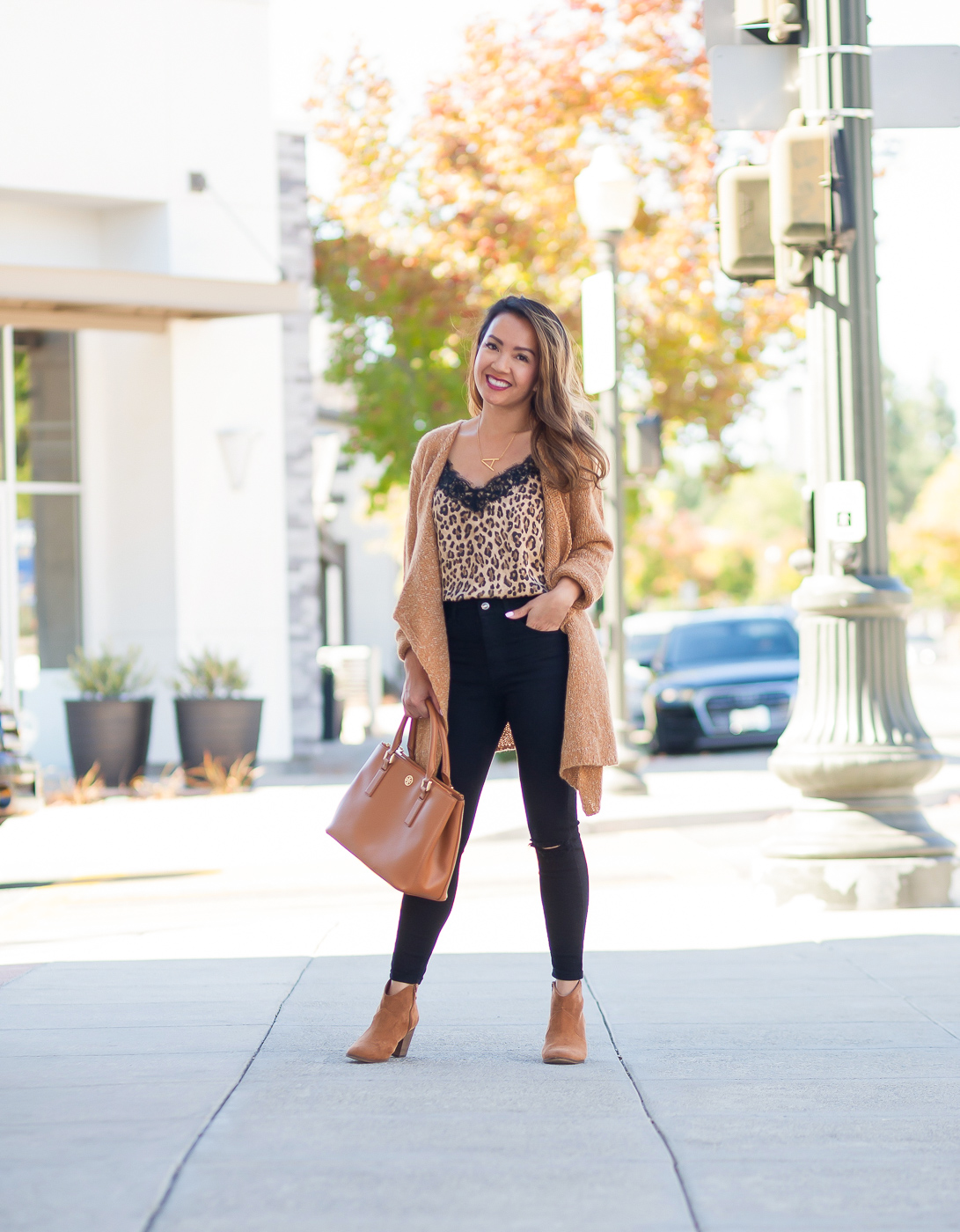 leopard satin lace cami drapey caridgan black distressed peite jeans cognac booties