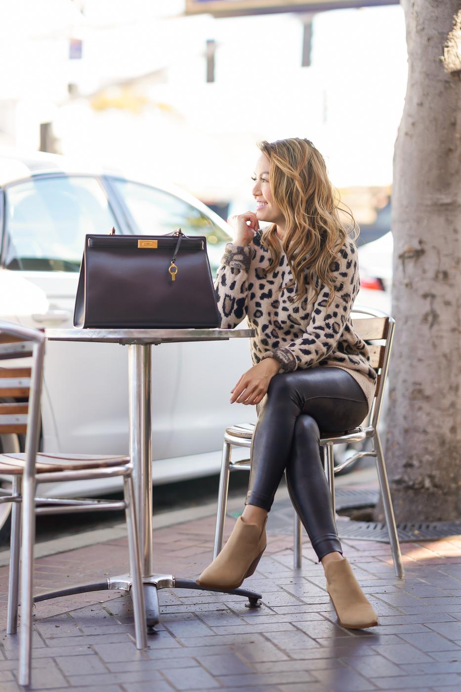 leopard sweater petite faux leather leggings Vince Camuto Gigietta bootie