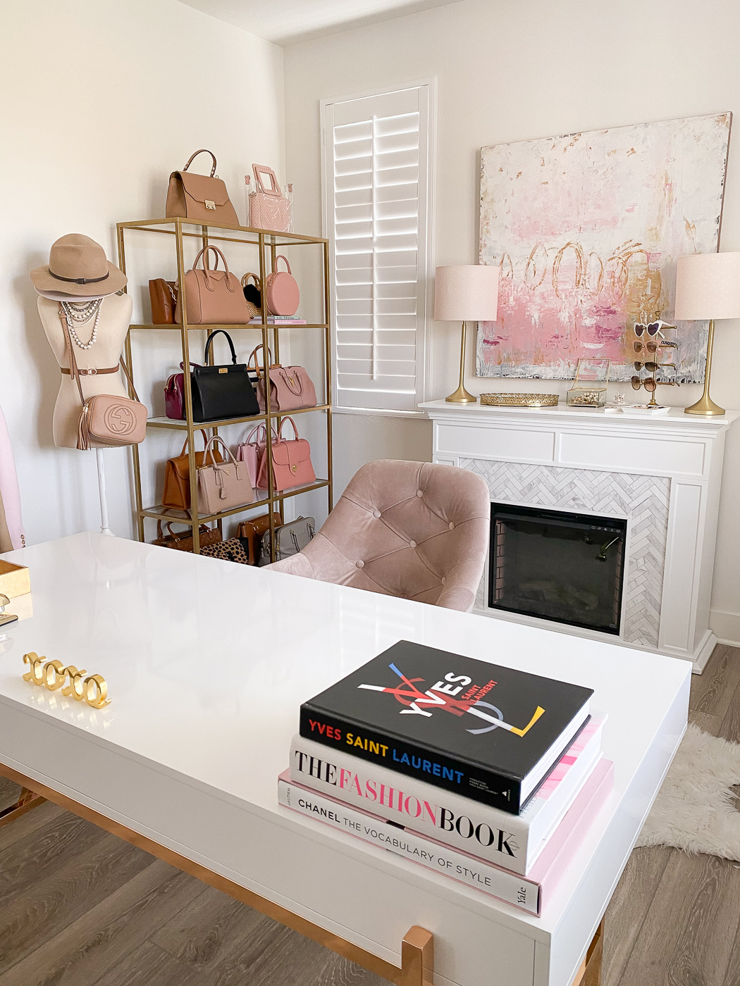 Pink Gold And White Home Office Decor Stylish Petite