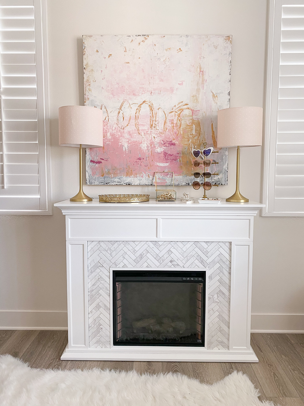 faux marble herringbone fireplace pink white gold desk home office girly feminine