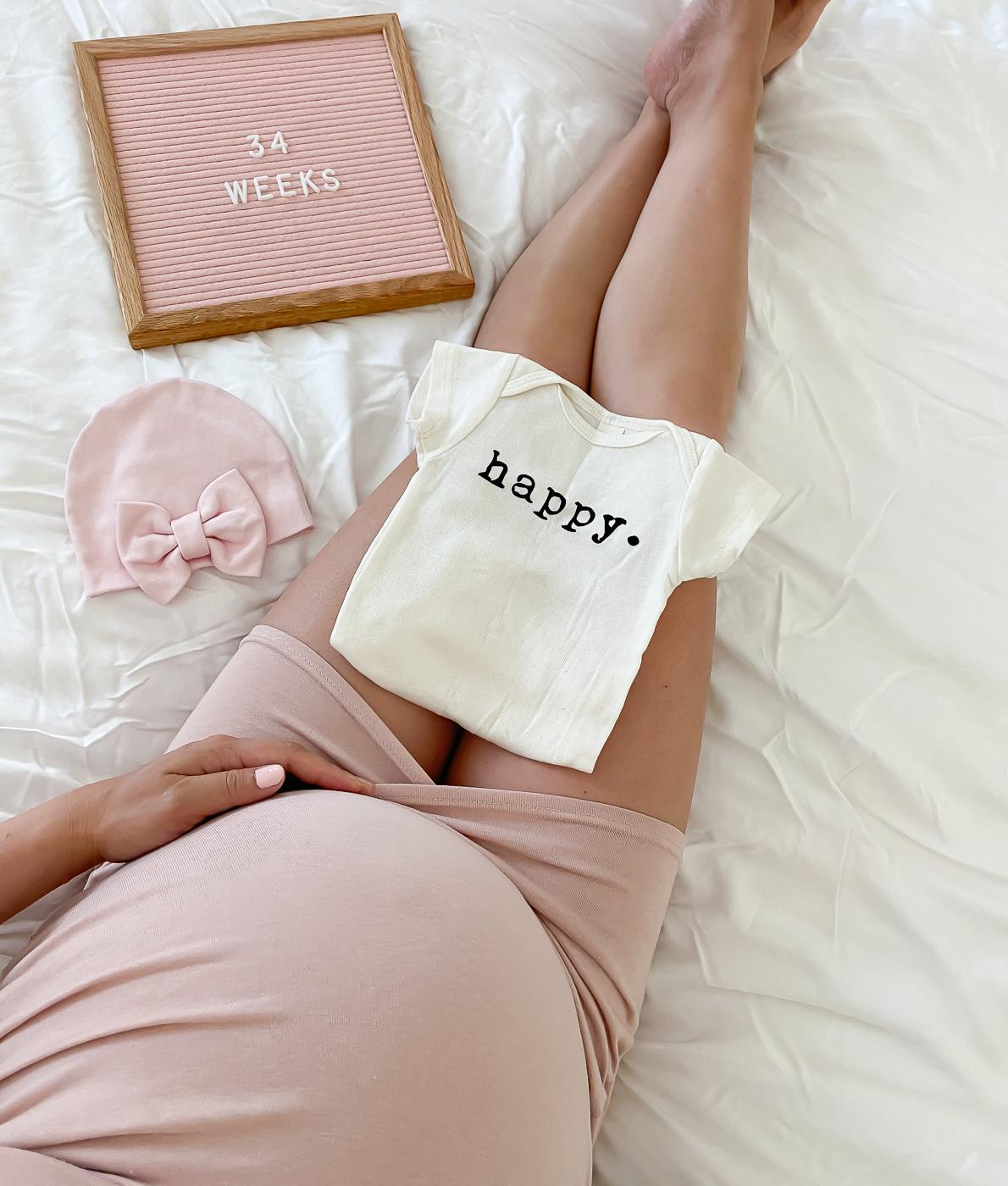 34 weeks pregnancy baby bump letter board organic happy onsie pink bow hat