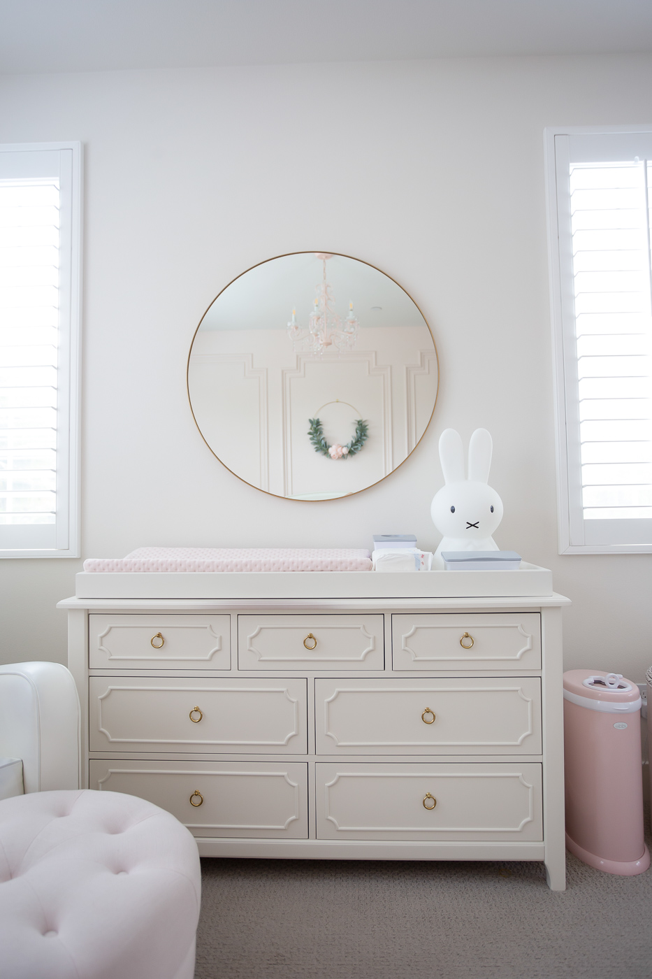 gold round mirror miffy bunny lamp pottery barn kids dresser nook changing pad ubbi diaper pail